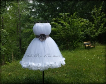 Sleeveless White Junior Bridesmaid Dress with Silver Flower and Sash