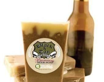 Vegan Organic Super Moisturizing Beer Soap Pints -- The Black and Tan Beer Soap -- 3 Pack Made In America therefore FREE DOMESTIC SHIPPING