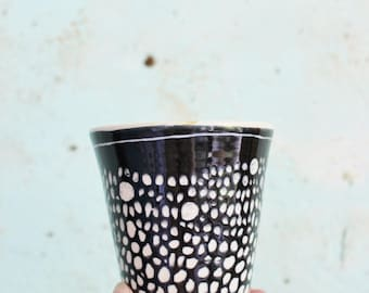 READY TO SHIP Stoneware Ceramic Pottery Beaker Black White Spotty  Shibori Australia Latte Coffee Cup