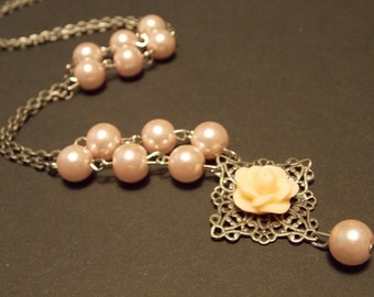 Pale Pink Rose and Pearl Necklace