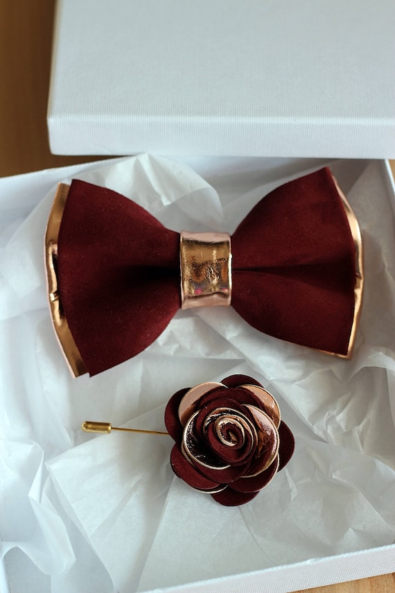 Rose Gold and burgundy leather bow tie for men rose gold