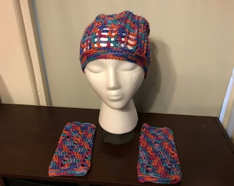 Crocheted Hat and Fingerless Gloves