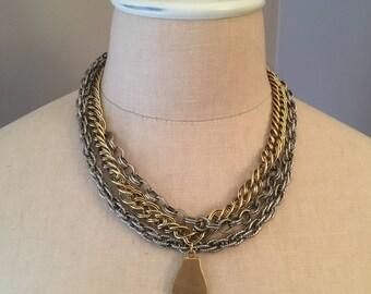 RESIST Vintage Multichain and Brass Finger Necklace OOAK