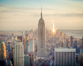 NYC Sunset Photograph - Empire State Building Print - World Trade Center - Soft Parchment Filter - New York City Dusk - Vignette