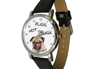 Pugs, not drugs design wristwatch - Ideal for Pug Lovers - dog Gift - mens watch - womans watch