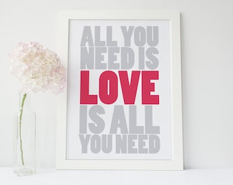 "Inspirational Poster - ""All You Need is Love..."" Scarlett/Pink"