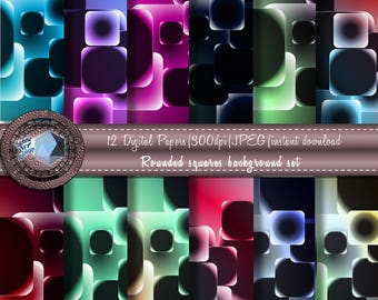 Rounded square background set (digital paper)