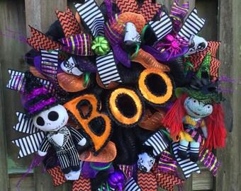 Nightmare Before Christmas Wreath,NBC, Halloween Wreath, Jack Skellington Wreath, Disney Halloween,Halloween Mesh Wreath,Witch Wreath,Skull