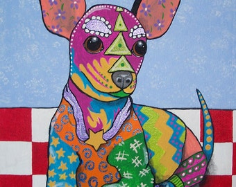 Dog Chihuahua Pop Art Whimsical Print Modern Abstract Multiple Sizes Available Artist Julie Ellison