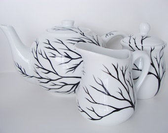 Tree Branches Teapot and Cream and Sugar Set Hand Painted