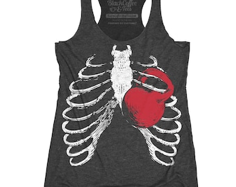 Gym Shirt - Squat Shirt - Kettlebell Shirt - Womens Workout Shirt - Ribcage Workout T-Shirt Hand Screen Printed on a Womens Tank Top