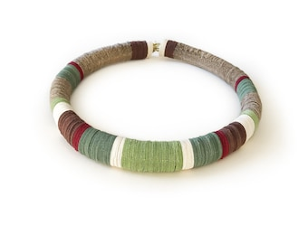 Colorful paper choker, paper jewelry, round statement necklace, green choker, women jewelry, minimalist design jewel, gift for her
