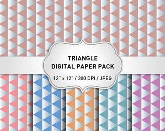 Triangle Digital Paper, Geometric Digital Paper, Scrapbook Paper, Instant Download, Geometric Background, Geometric Papttern
