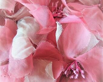 Vintage 1960's Hat Easter Bonnet Hot Pink Pillbox Hat Flowered Straw Hat