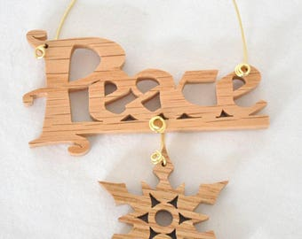 Peace Ornament, Peace Christmas Tree Ornament, Wooden Snowflake Christmas Ornament, Inspirational Word Sign, Solid Wood Mini Wall Hanging