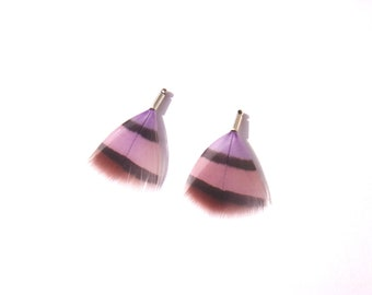 Purple tinted Partridge: pair of MINI pendants 31 mm in height approx.