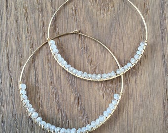 Moonstone Hoop Earrings, 14Kt Gold Filled or Sterling Silver, Hand Hammered Wire Wrapped Gemstone Hoop Earrings, Gift Statement Earrings