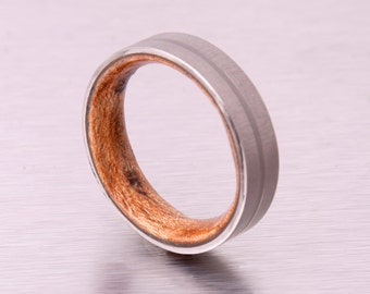 Mens Wood Wedding Band with Titanium Ring