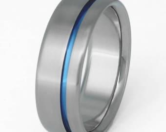 Original Thin Blue Line Titanium Wedding Ring - One Carved Anodized Line - Retirement Gift - Academy Graduation Present - b2