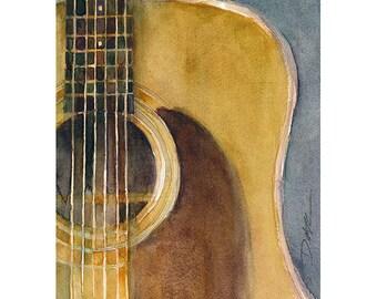 Martin Guitar D-28 (2013) - Watercolor Art Print - Size  8.5 x 11 or 12 x 18