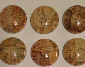 Map bubble magnet set - 1 inch - Mix and Match