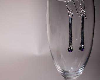 Amethyst Hammered Silver Drop Earrings, Silver Stick Earring Dangle, Long Bar Earring