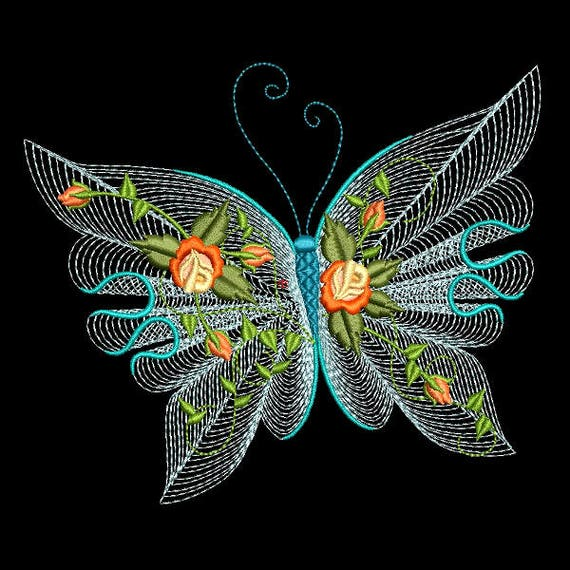 Flutterby luv 1 6 inch size 10 machine embroidery for Embroidery office design version 9