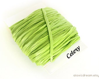 Celery Green Raffia Ribbon - 30/100 yards - 1/4 inch wide