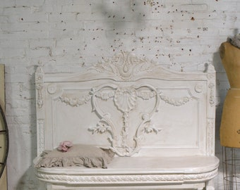 Painted Cottage Chic Shabby Farmhouse Bench CHR955