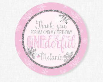Winter ONEderland Favor Tags, Snowflake Favor Tags, Pink and Silver Tag, Thank You Gift Tag, First Birthday Party Favors, Personalized
