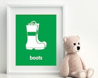 FIRE BOOTS Nursery Art Print - art poster - nursery art - child's room decor
