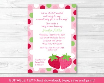 Cute Strawberry Baby Shower Invitation / Strawberry Baby Shower / Pink & Green / Baby Girl Shower / INSTANT DOWNLOAD Editable PDF A307