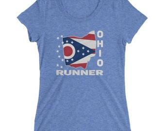 Women's Ohio Runner Triblend T-Shirt - Run Ohio - Women's Short Sleeve Running Shirt
