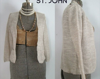 1970s St. John Cardigan With Pockets // Open Front Neutral Beige Spring Sweater