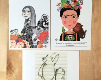 Pack postcards Frida - Geisha - Taxi