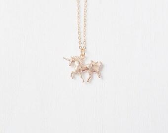 Gold Unicorn Necklace | Unicorns Are Real | Unicorn Jewelry | Bridesmaid gift idea