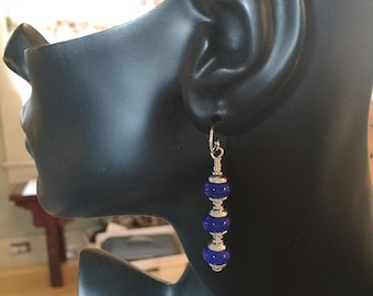 Lamp Work Light Cobalt Blue Glass Earrings  and Sterling Silver