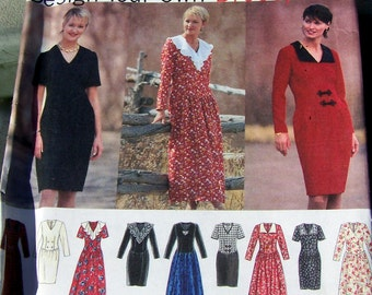 1994 Simplicity Pattern 9137 design your own Dress/ Robe misse's/miss petite size8,10,12 UNcut and all pattern instruction