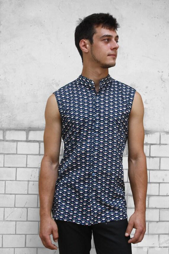 Sleeveless button down shirt mens - Lizard - BAÏSAP ZUdnm