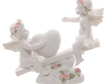 Statuette Angel Heart rocker with pink roses