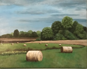 Hayfield landscapes painting, farm art, original art, Impressionism, farm, country life