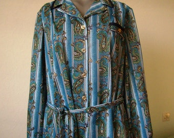Dress woman, summer, size 50/52 / XL, sleeves, french Vintage long blue and white, green pattern