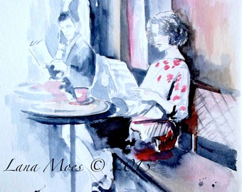 Paris Cafe Travel Art Print from Watercolor Painting - Wanderlust  Parisian Collection - Lana Moes Art