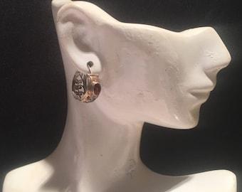 Sterling Silver Hoops Earrings...Sterling Silver Hoops...Handmade Vintage Earrings...Ethnic...Hippy...Gypsy...LV93