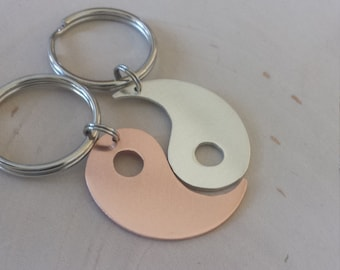 Yin Yang couples keyring in copper and sterling silver