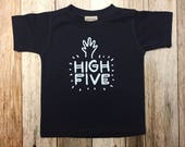"Kids Short Sleeved Navy Blue Shirt with ""High Five..."