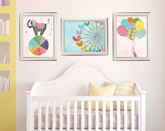 Carnival Wall Art for Girl's Nursery Pink Yellow Aqua Rainbow Room, Art above Crib, Balloons, Ferris Wheel, Elephant, Set of 3, LilyCole,