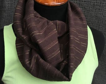 Pin Stripe Scarf, Fall Scarf, Circle Scarf, Infinity Scarf, Striped Scarf, Gold Scarf, Unique Scarf, Brown Scarf, Woman Gift, Cowl