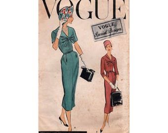 "Vogue Special Design Sheath Dress Sewing Pattern, with Sew In Label, Misses Size 16 Bust 36"" Vintage 1950's Vogue S-4794"