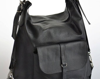 LEATHER BACKPACK PURSE Multi Way Rucksack Tote Bag Black Leather Shoulder Bag.